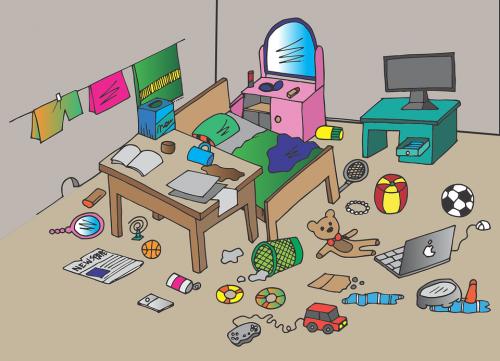 Dessin naïf : chambre en désordre