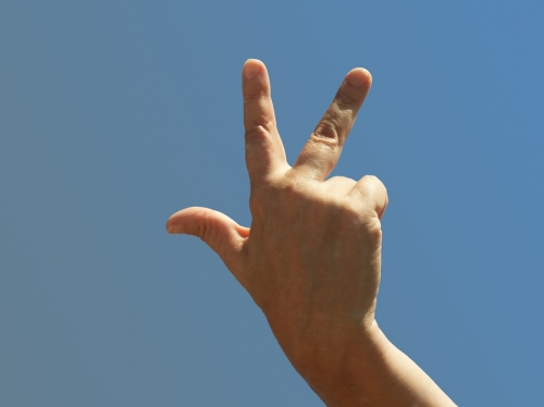 Une main en l'air pour montrer 3 avec ses doigts