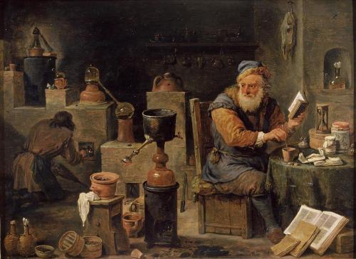Alchimiste dans son atelier